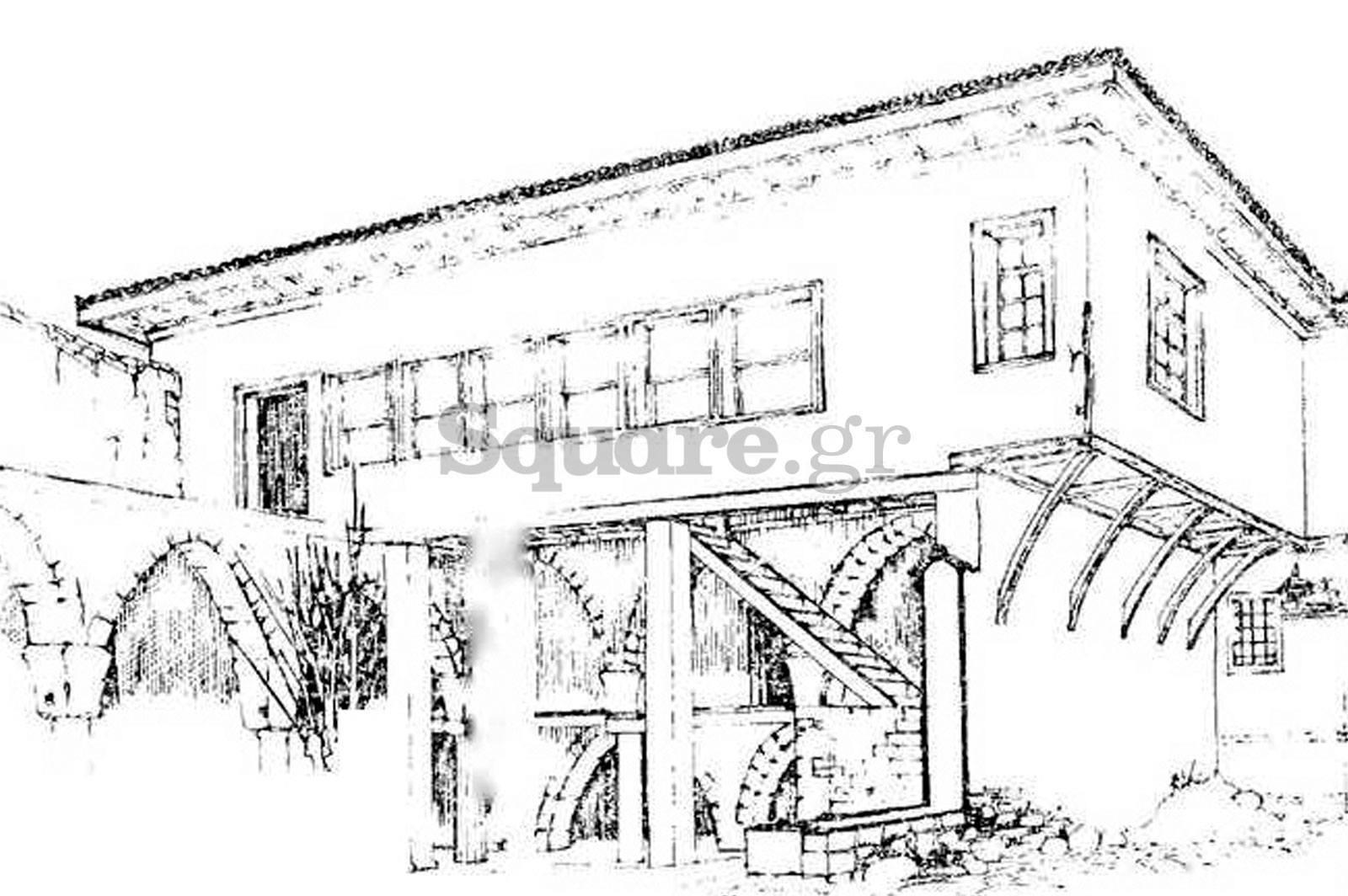 3-Οικία-οδού-παίδων-Χαλκίδα-τουρκοκρατία-και-μεταβυζαντικό-σπίτι-Προοπτικό-σχέδιο