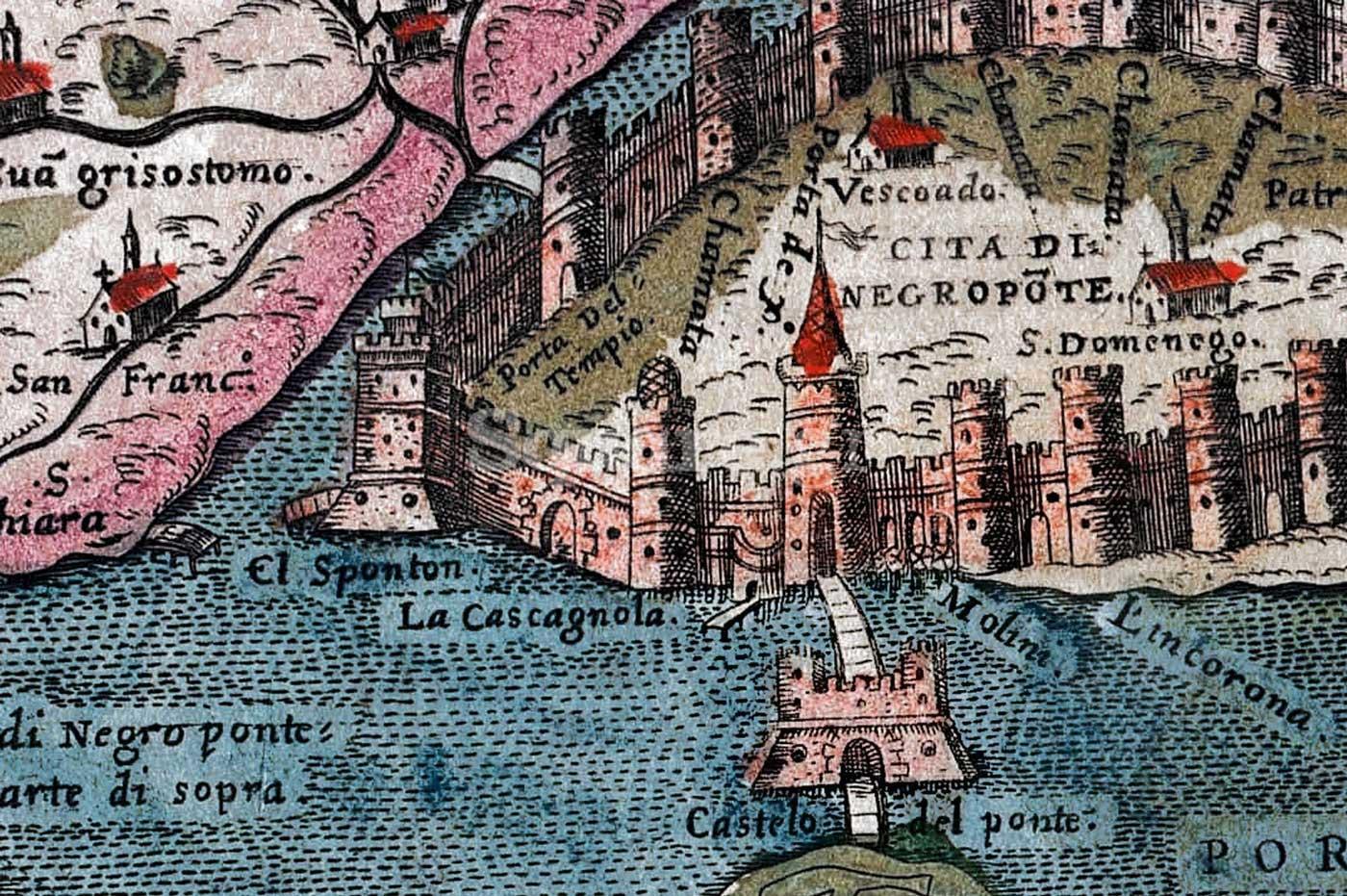 10-Λεπτομέρεια-από-χάρτη-του-Simon-Pinargenti-1573-όπου-φαίνονται-η-Πύλη-La-Castagnola-η-προβλήτα-el-Sponton-και-το-Κάστρο-του-Ευρίπου-με-δύο-πύργους