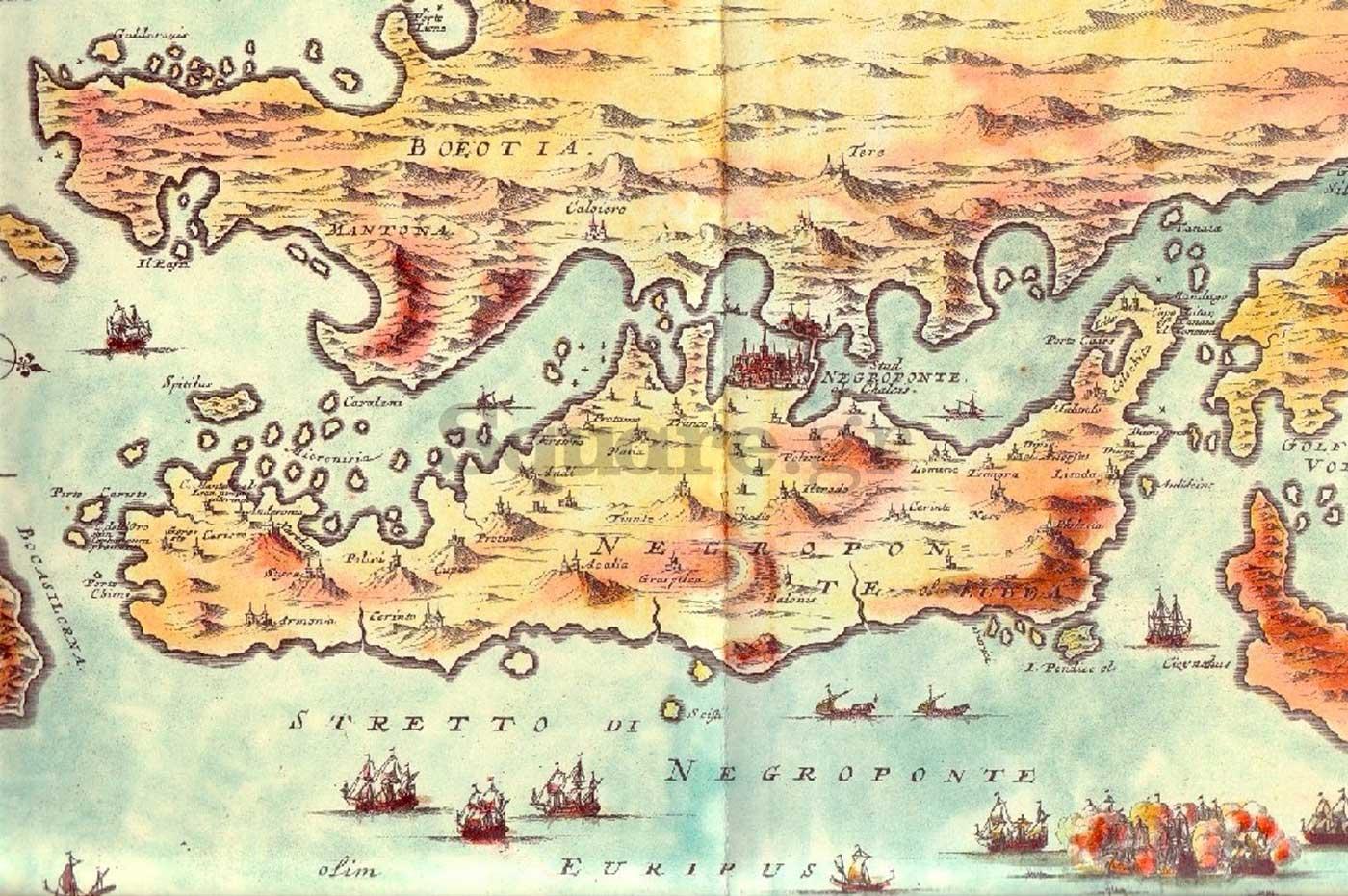 1--Το-νησί-της-Εύβοιας-(Negroponte)-Σχέδιο-από-το-έργο-του-Marco-Boschini-L-Archipelago-con-tutte-le-isole-1654-Χαρακτικά-της-Εύβοιας