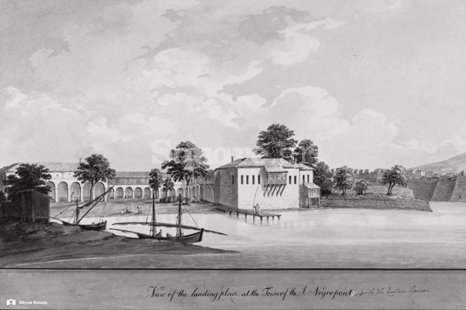 3-Τοπιογραφία-Ferdinand-Bauer-1-1-1787-Η-γέφυρα-και-το-κάστρο-του-Ευρίπου-Θέα-από-το-βόρειο-λιμάνι-2