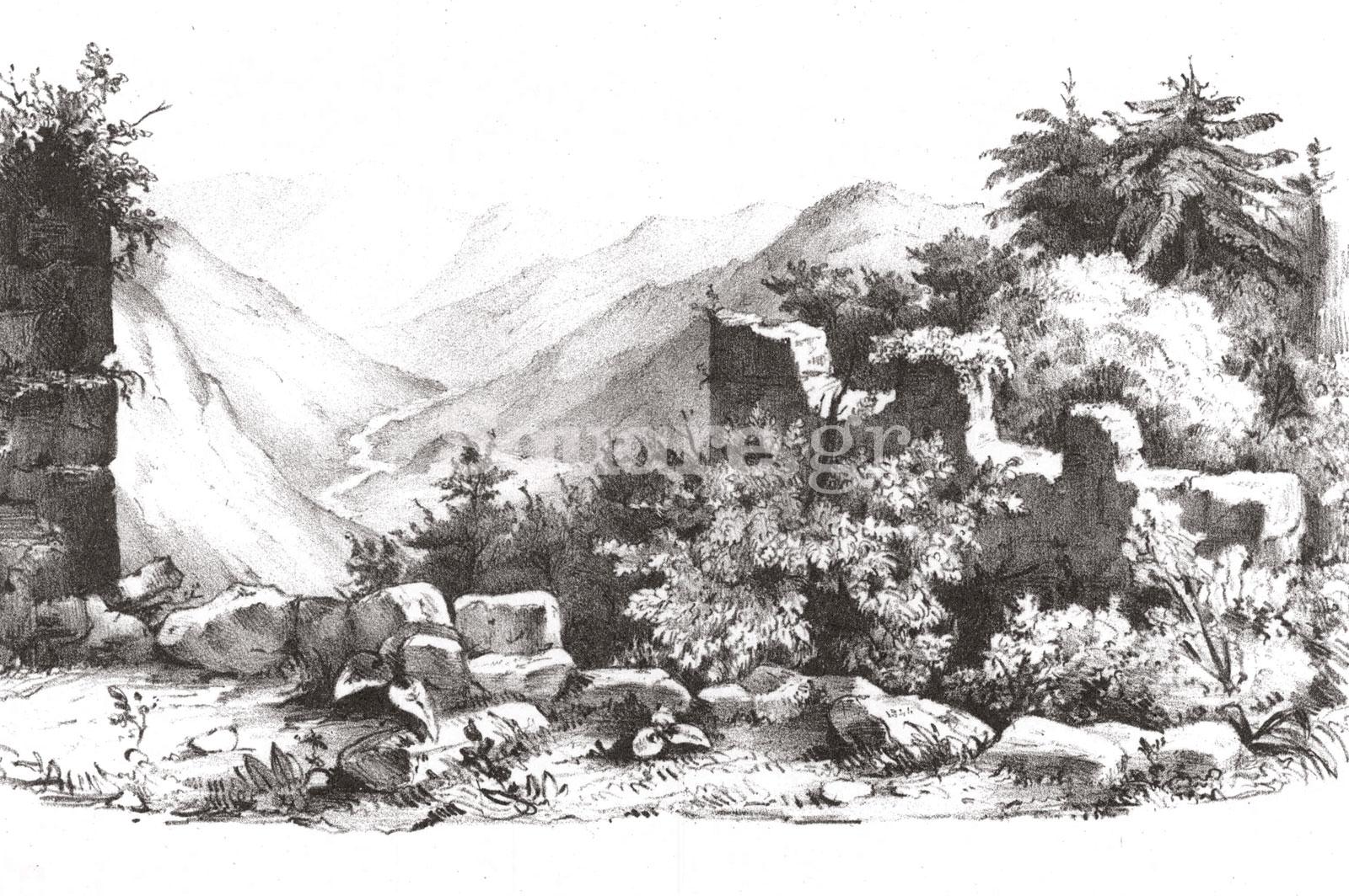17-Γκραβούρα-των-ερειπίων-του-κάστρου-της-Κλεισούρας-από-τον-Γάλλο-συγγραφέα-Αλεξάντερ-Μπυσόν