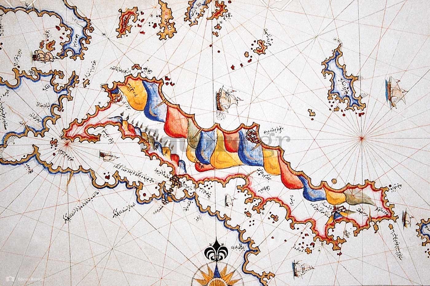 6-Χάρτης-της-Εύβοιας,-σχεδιασμένος-από-τον-Οθωμανό-ναύαρχο-και-συγγραφέα-Πίρι-Ρέις