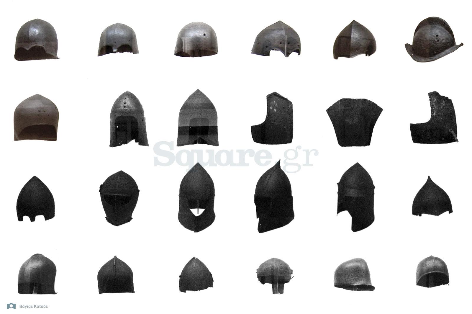 2-Η-εναποθηκευμένη-συλλογή-εξοπλισμού-της-Χαλκίδας-περιελάμβανε-διάφορους-αντιπροσωπευτικούς-τύπους-κρανών-των-μεσαιωνικών-χρόνων