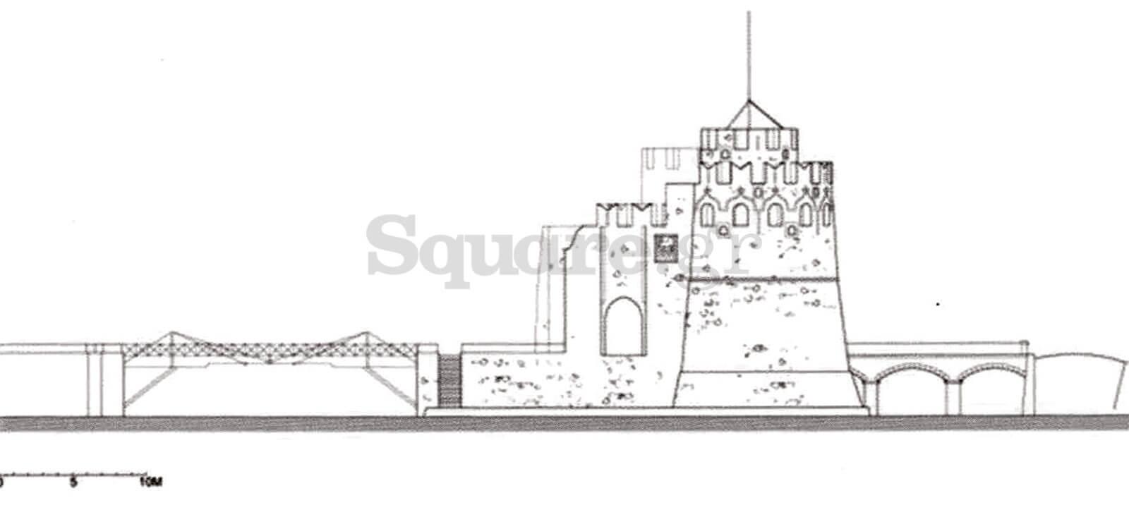 23-Βόρεια-όψη-κάστρου-του-Ευρίπου-Αριστερά-η-σιδερένια-Οθωνική-γέφυρα-Δεξιά-η-πέτρινη-τρίτοξη-γέφυρα