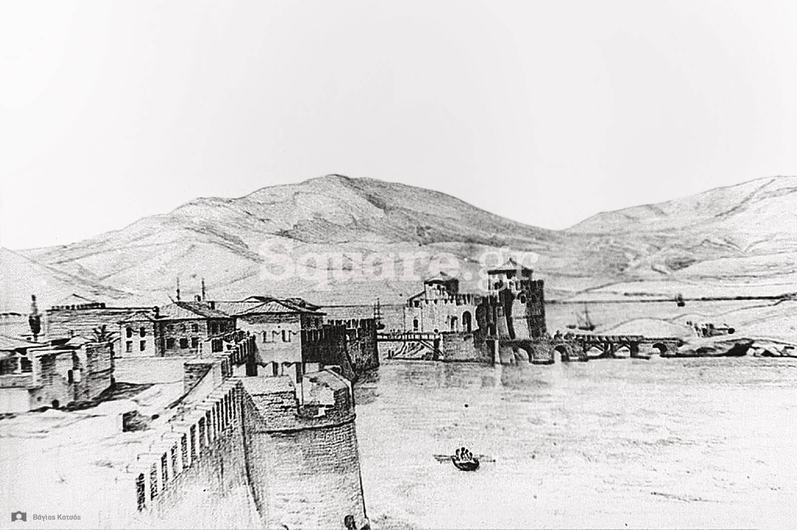 7-Το-δυτικό-τμήμα-των-τειχών-της-Χαλκίδας-J-Sherer-1844-Aρχείο-Σκούρα-ΓΑΚ-Αρχείο-Μουσείου-Μπενάκη
